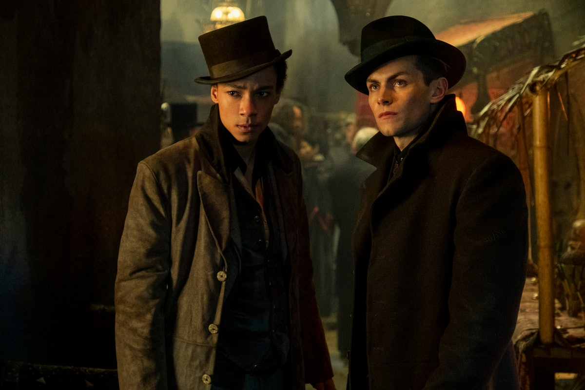 Kit Young as Jesper and Freddy Carter as Kaz in Shadow and Bone