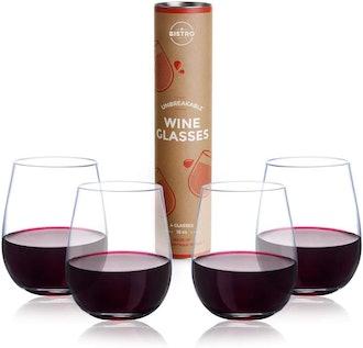 YO BISTRO Unbreakable Stemless Wine Glasses