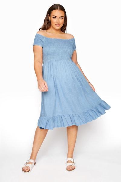 Blue Acid Wash Shirred Bardot Dress