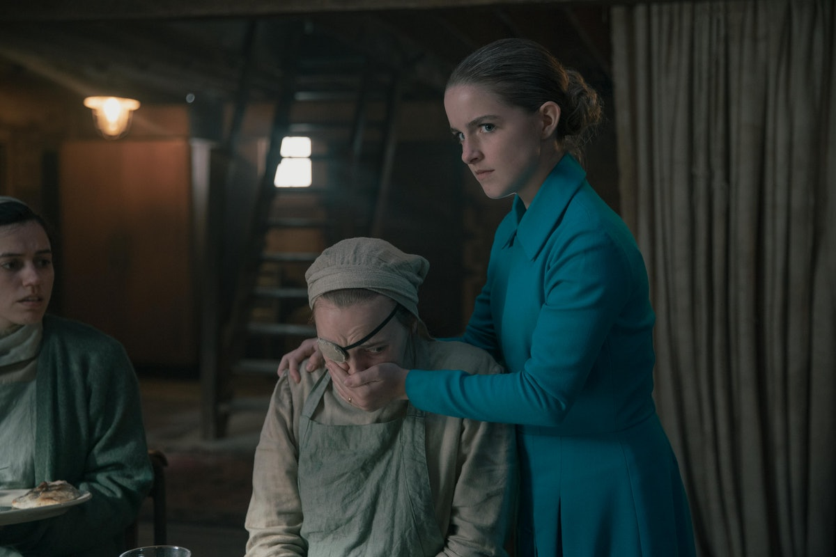 Madeline Brewer as Janine and Mckenna Grace as Mrs. Keyes in The Handmaid's Tale