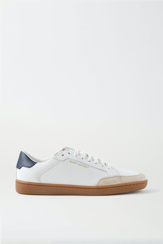 Court Classic Logo-Print Suede-Trimmed Perforated Leather Sneakers