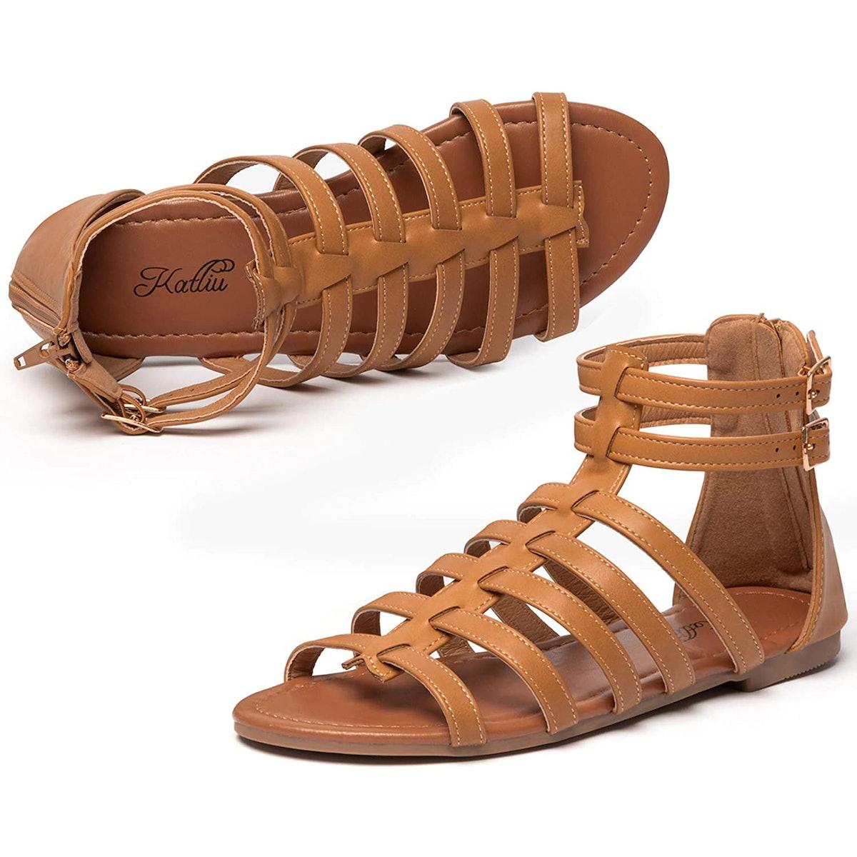 katliu Flat Gladiator Sandals