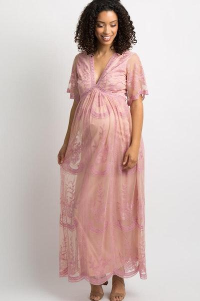 Pink Lace Mesh Overlay Maternity Maxi Dress