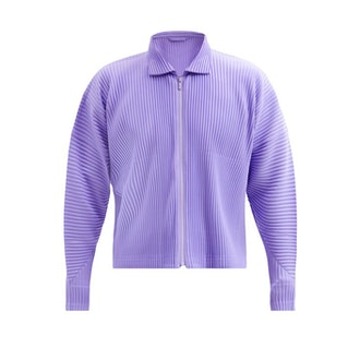 Cropped technical-pleated jacket