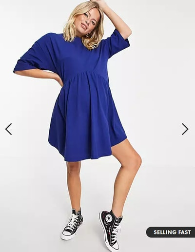 Maternity oversized mini smock dress with dropped waist in navy