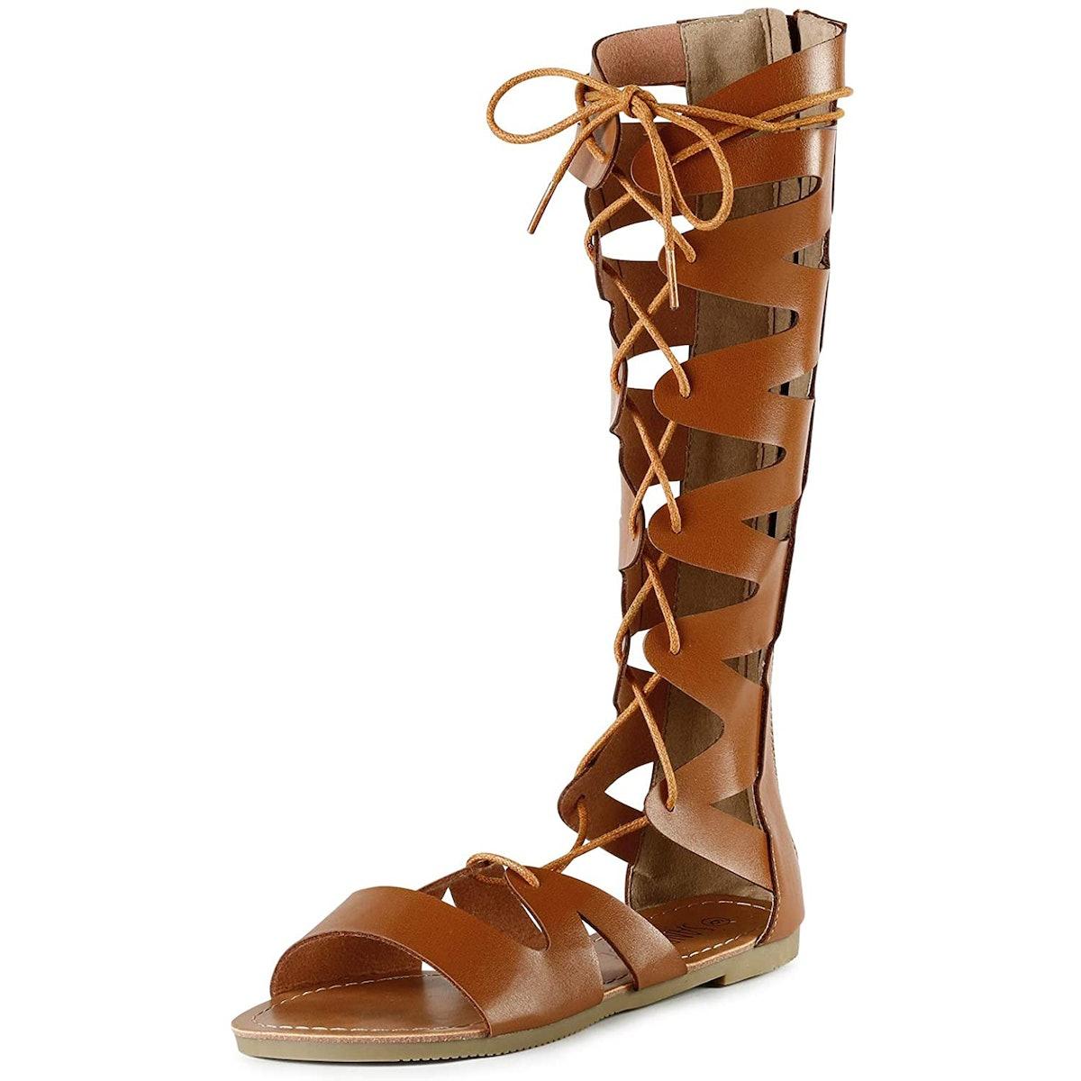 SANDALUP Knee-High Flat Gladiator Sandals