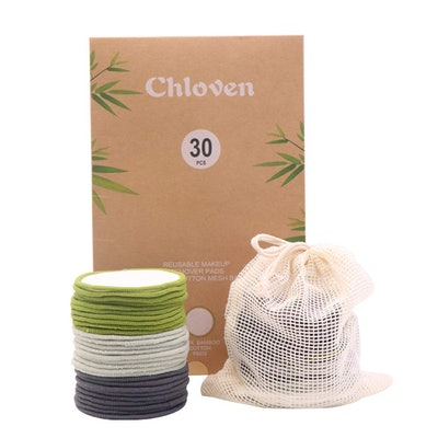 Chloven Organic Reusable Makeup Remover Pads (30-Pack)