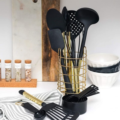 STYLED SETTINGS Black and Gold Kitchen Utensils & Holder (18-PC)