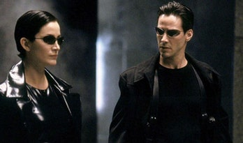 Carrie Anne Moss and Keanu Reeves in The Matrix