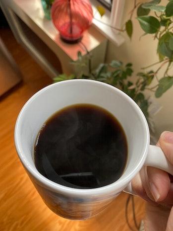 Four Sigmatic mushroom coffee brewed in mug