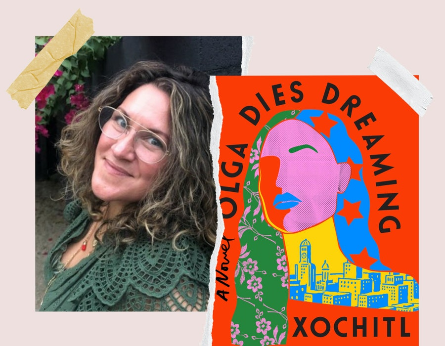 Author Xochitl Gonzalez and the cover of her book 'Olga Dies Dreaming.'