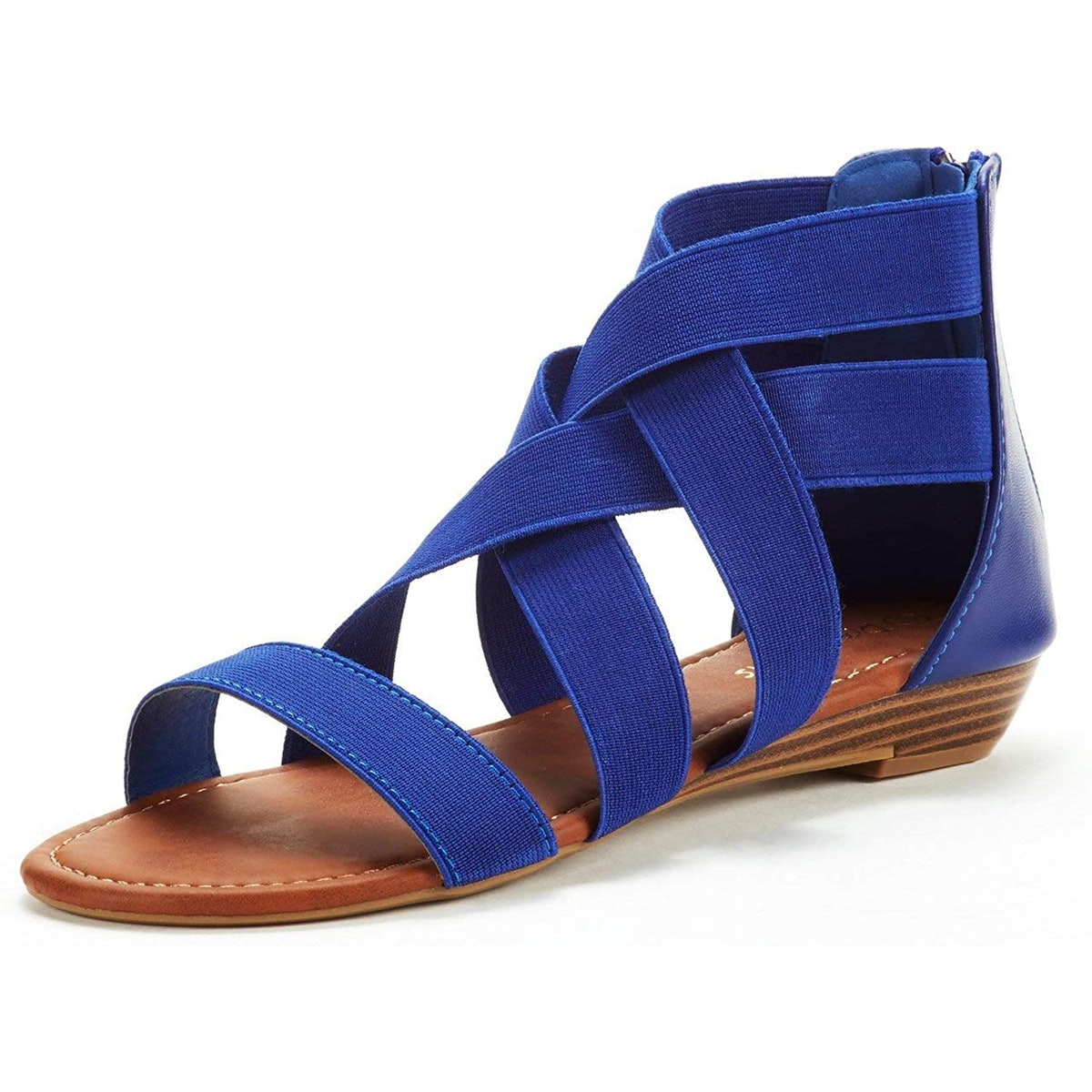 DREAM PAIRS Elastic Ankle Strap Low-Wedge Sandals