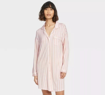 Stars Above Pink Striped Nightgown