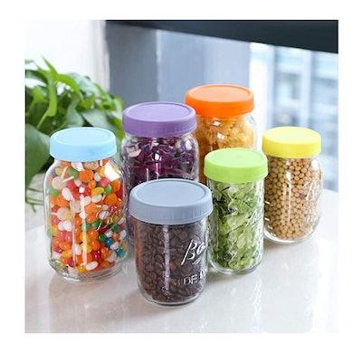 Aozita Colored Plastic Mason Jar Lids (12-Pack)