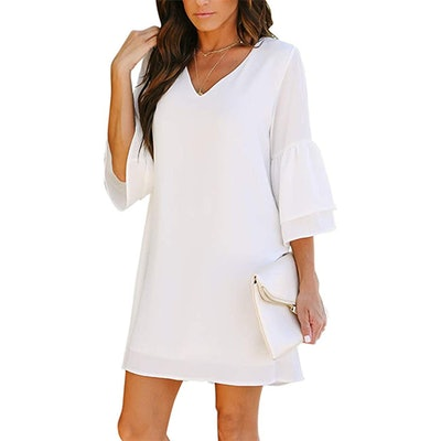 BELONGSCI V-Neck Bell Sleeve Shift Mini Dress