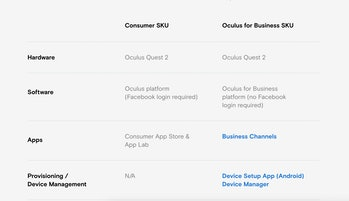 Oculus sells a business version of its Quest 2 that doesn't require a Facebook login.