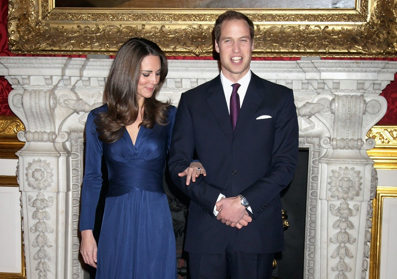 Prince William and Kate Middletonarrive to pose for photographs in the State Apartments of St James Palace on November 16, 2010