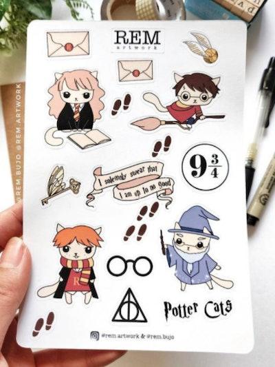 RemArtworkShop Harry Potter Cat Stickers