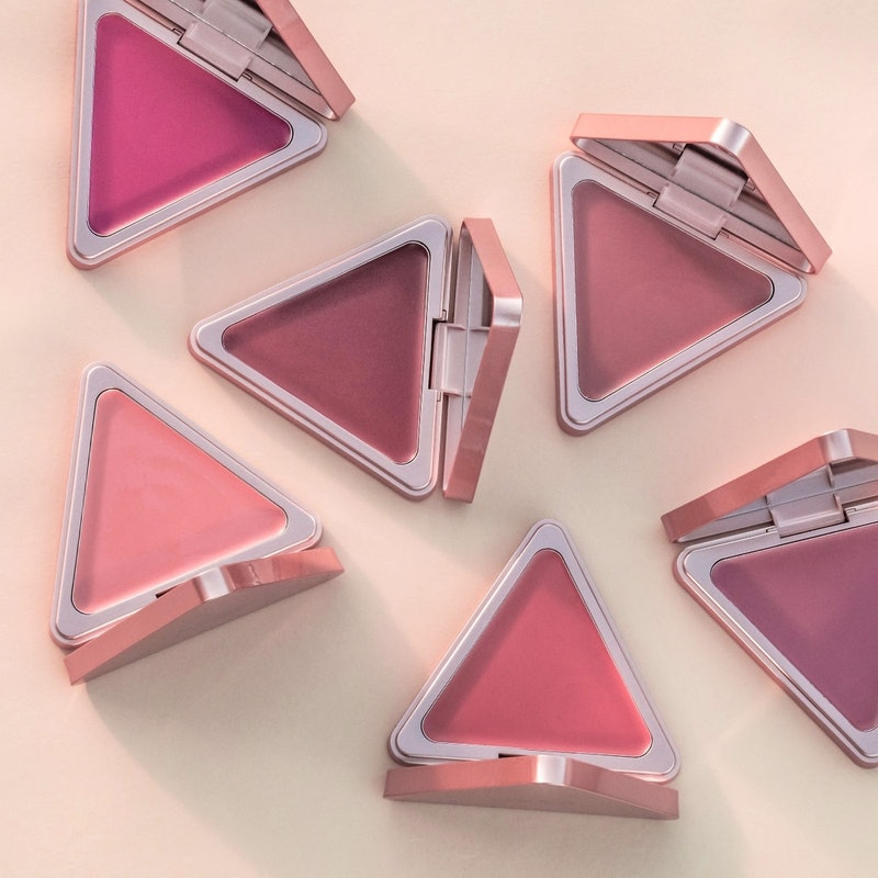 photo of six LYS Beauty high standard matte satin cream blushes on a peach background