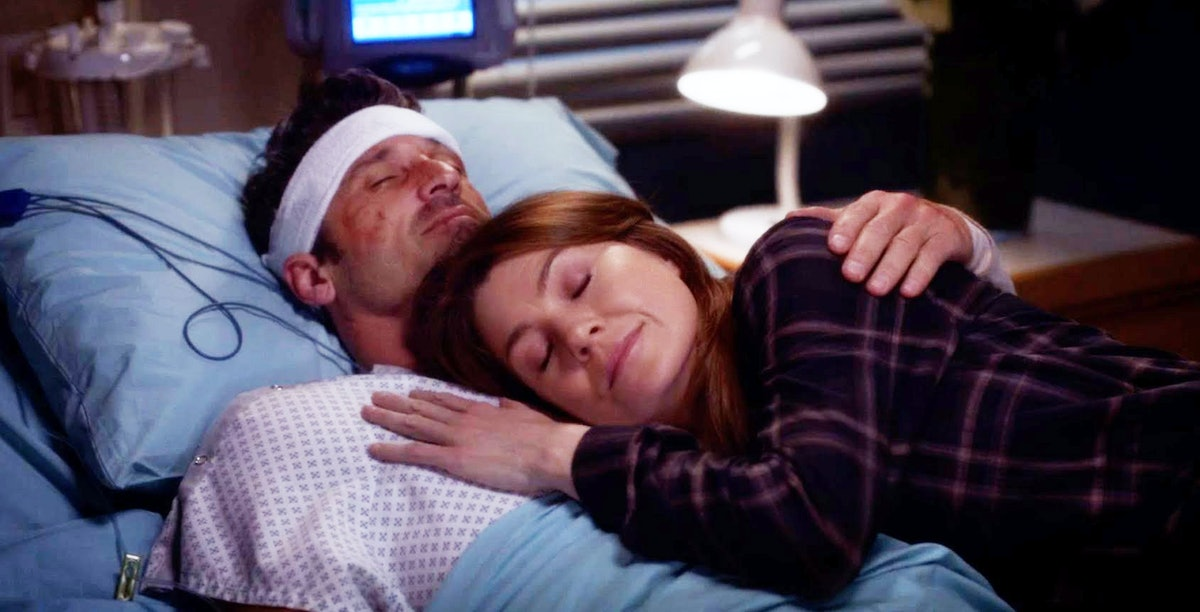 Patrick Dempsey as Derek Shepherd and Ellen Pompeo as Meredith Grey in Grey's Anatomy.