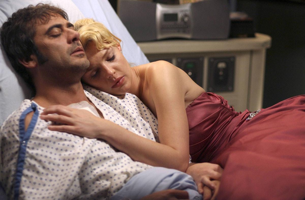 Jeffrey Dean Morgan as Denny Duquette and Katherine Heigl as Izzie Stevens in Grey's Anatomy.