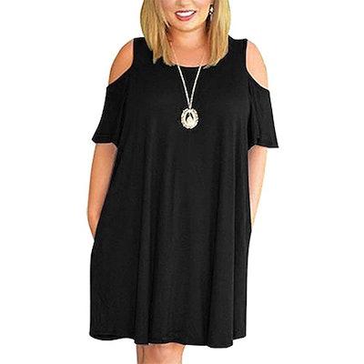 Kancystore Plus Size Cold Shoulder Shift Dress
