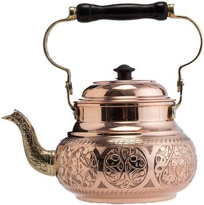 DEMMEX Engraved Solid Copper Tea Pot