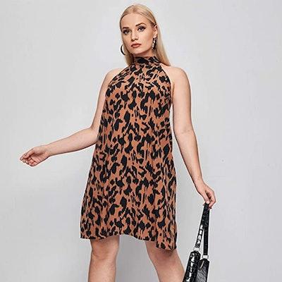 Floerns Halter Neck Sleeveless Print Dress