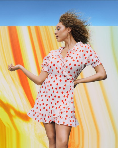 Model wearing RIXO Dress from Target's Designer Dress Collection.