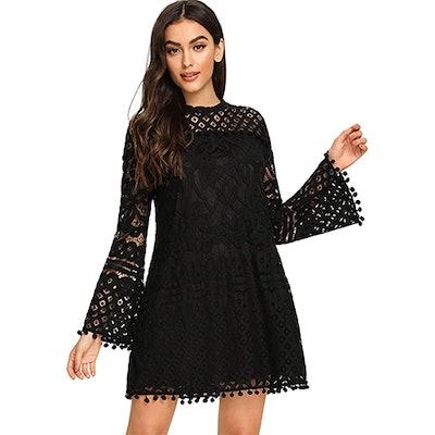 SheIn Crochet Pom-Pom Sheer Bell Sleeve Dress