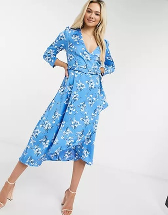 Midi Dress With Long Sleeves In Blue Floral Print