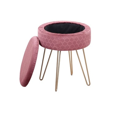 Mxfurhawa Velvet Round Footrest Stool