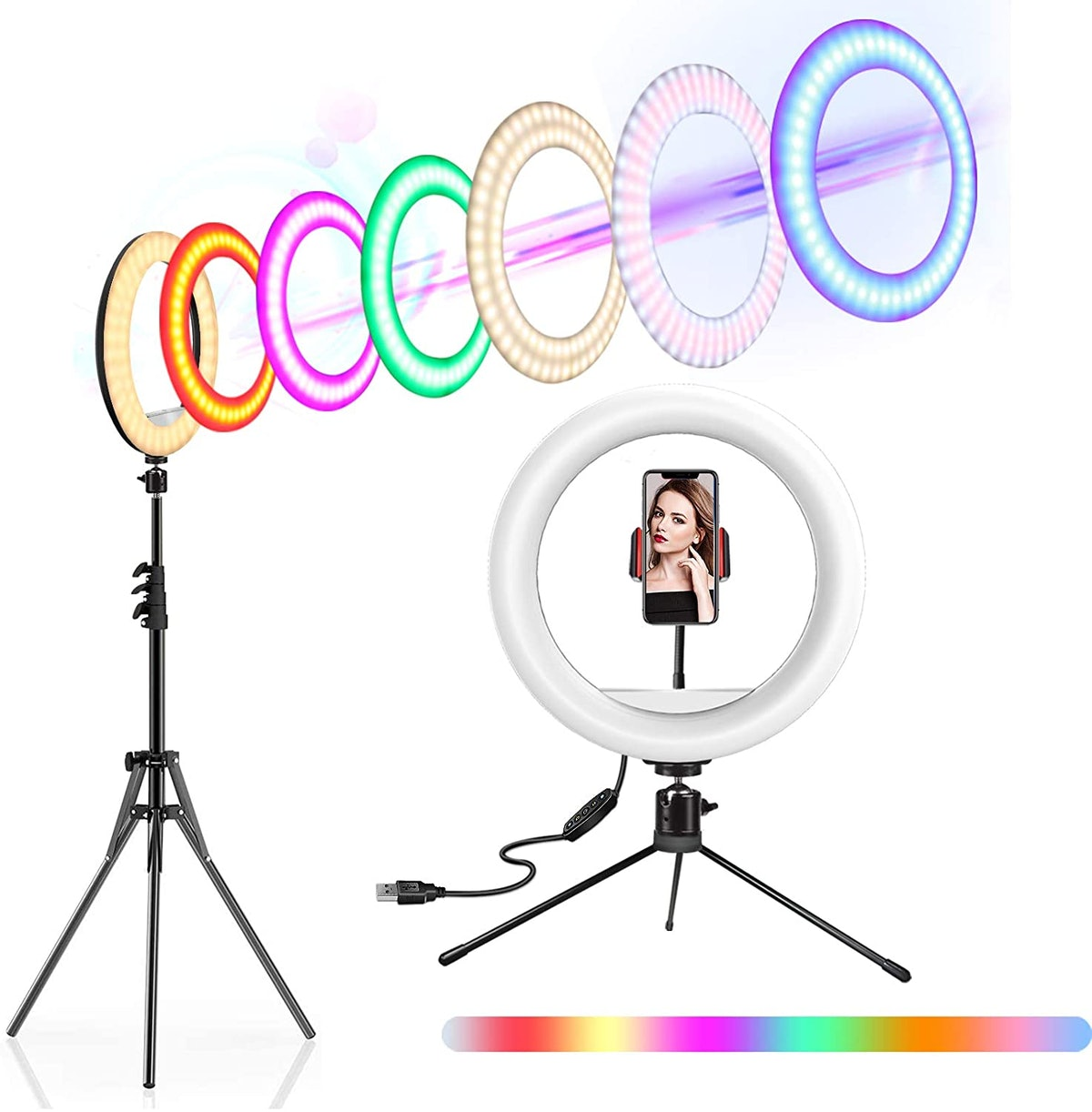 """10"""" Selfie Ring Light with Stand and Phone Holder, Adjustable RGB Rainbow Ring Light"""