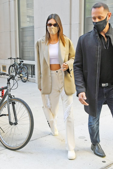 Kendall Jenner in beige separates.