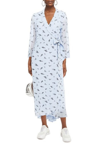 Floral-Print Georgette Midi Wrap Dress