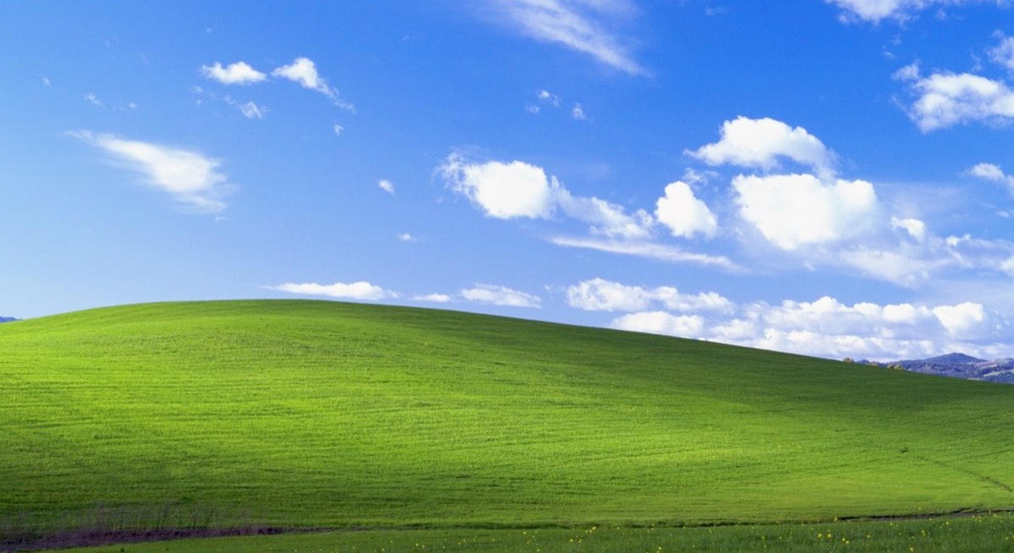 Microsoft's famous Windows XP background wallpaper.