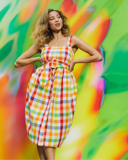 Model wearing an ALEXIS dress from Target's Designer Dress Collection.