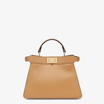 Peekaboo ISeeU Small Beige Leather Bag