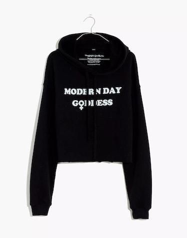 Modern Day Goddess Graphic Cropped Hoodie Sweatshirt