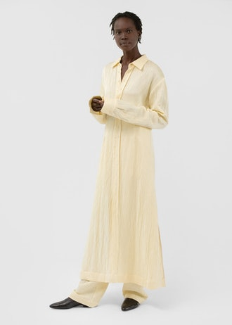 Button Front Shirt Dress in Crinkle Linen