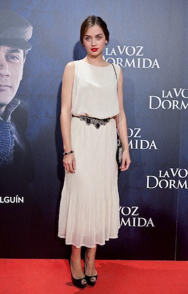 Ana de Armas in white dress.