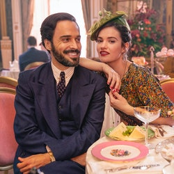 Fabrice (ASSAAD BOUAB), Linda (LILY JAMES) in BBC's the Pursuit of Love