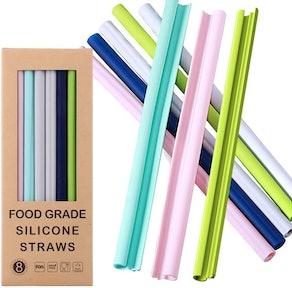 FORI Reusable Silicone Straws (8-Pack)