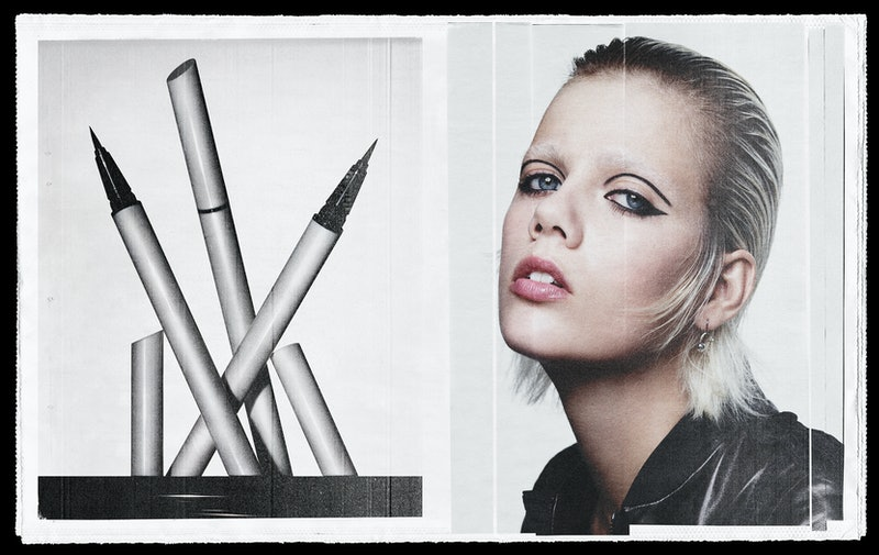 zara beauty eyeliner and a model wearing graphic black liner