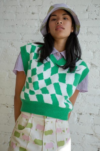 Vera Sweater Vest - Green Warp Check