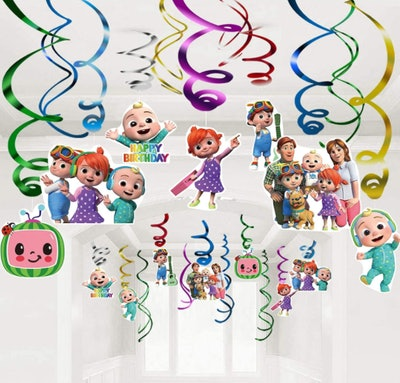 30 Count CoComelon Party Hanging Swirl Decorations