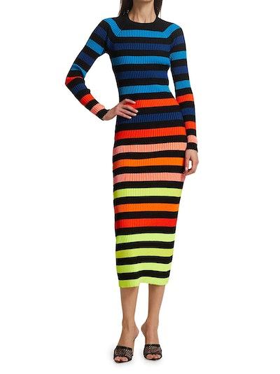 Rainbow Striped Ribbed Midi Dress