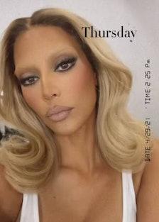 Kim Kardashian blonde bleached eyebrows.