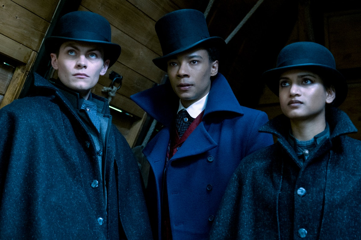 Freddy Carter as Kaz, Kit Young as Jesper, and Amita Suman as Inej in Shadow and Bone.
