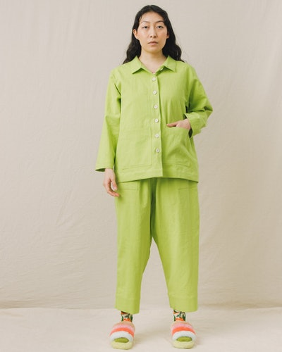 Mid Tapered Pant in Lime Twill
